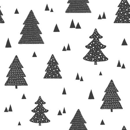 Scandinavian seamless pattern with christmas trees. Vector hand drawn background