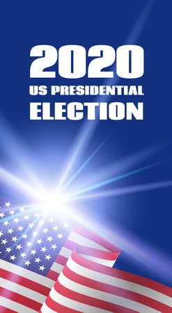 Vertical banner template for 2020 US Presidential Election. With USA flag