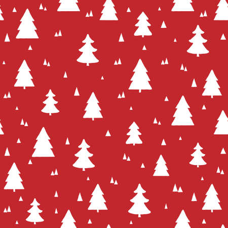 Scandinavian Christmas seamless pattern. Vector red background with white hand drawn Christmas trees