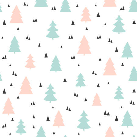 Christmas trees seamless pattern. Vector childish scandinavian background. For fabric, wallpaper design