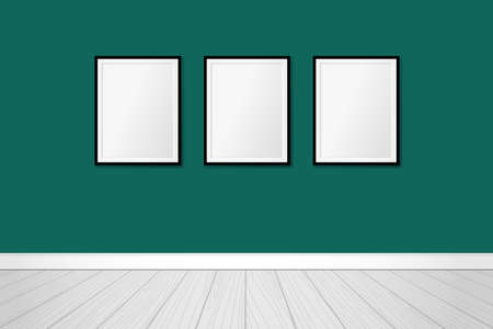 Three modern frames on an emerald green wall. Vector mock up. Contemporary interior design  イラスト・ベクター素材