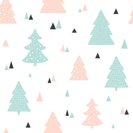 Scandinavian Christmas pattern. Vector childish background with hand drawn Christmas trees
