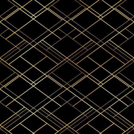 Golden cross threads on black background. Luxury vector seamless pattern. For premium style package