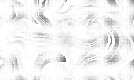 Halftone effect liquid background. Vector monochrome dotted abstract backdrop. Marble effect