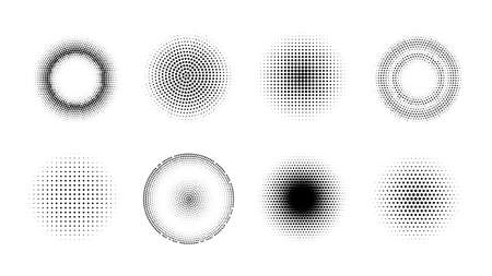 Halftone effect design elements. Set of vector dotted gradient circles. Round shape abstract backgrounds Ilustração