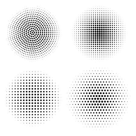 Vector set of halftone design elements. Abstract circles with dotted gradient halftone effect. Black dots on a white background Ilustração