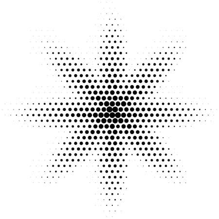 Halftone abstract spot. Vector dotted halftone effect gradient. Flower shape Ilustração