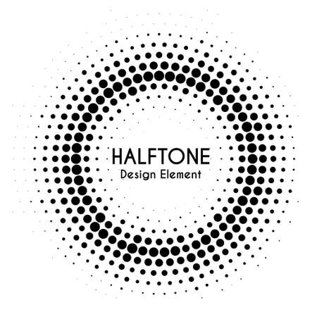 Vector halftone circle with text. Round dotted design element for banners