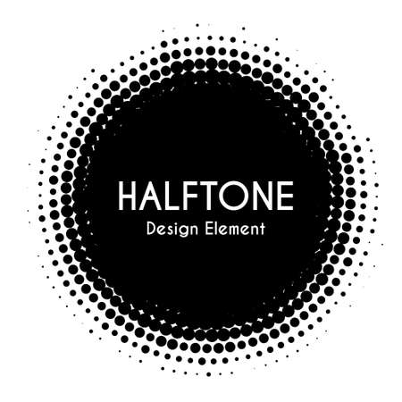 Halftone circle. Vector design element. Black dotted spot. For banners Ilustração