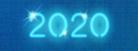 2020 digital web banner. Vector neon blue numbers on a halftone pixel background. Social media layout