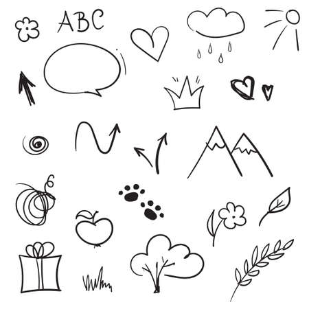 Hand drawn design elements. Vector set of doodle sketches. Arrows, crown, heart, speech bubble, gift box, flower