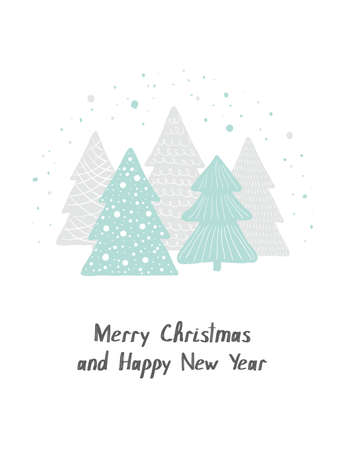 Merry Christmas and Happy New Year. Vector greeting card. Scandinavian Christmas hand drawn cute Christmas trees