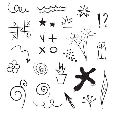 Doddle design elements. Vector set of hand drawn sketches. Blot, arrows, stars, spirals, tic tac toe, flowers, sparklers Ilustração