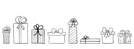 Seamless long banner with hand drawn gift boxes. Vector background with doodle presents. Christmas banner, greeting card Stock Illustratie