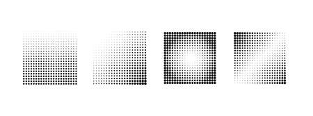 Halftone effect samples. Set of vector halftone gradient squares. Design elements
