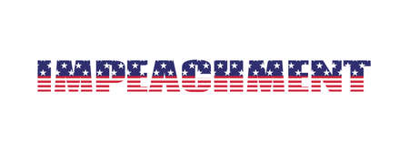 Impeachment. USA election vector banner. Text with american flag texture