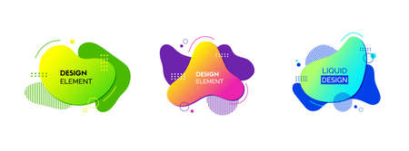 Liquid design elements. Vector set of fluid colorful abstract shapes. For banners, social media posts design Ilustrace