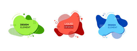 Set of fluid design elements. Vector abstract colorful liquid shapes. Red, green, blue elements for banners design