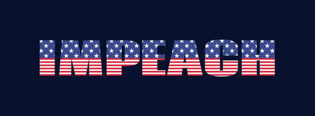 Impeach. USA impeachment banner. Vector word with american flag texture on a dark background Ilustrace