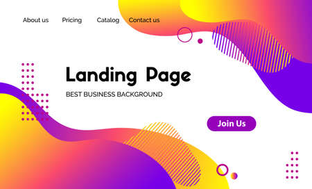 Landing page vector template. Abstract modern background with liquid fluid color shapes. Template for websites, apps