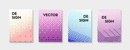Halftone backgrounds. Vector set of color dotted minimal templates for banners, flyers, covers. Trendy gradient textures