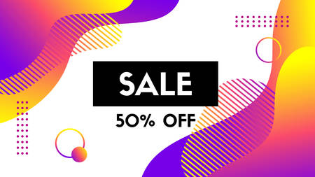 Sale banner template. Vector abstract background with trendy dynamic liquid fluid gradient shapes. Discount offer