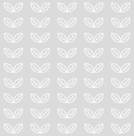 Seamless pattern with leaves. Vector monochrome scandinavian floral background with white leaves in a row
