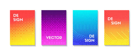 Halftone effect vertical templates. Vector colorful gradient halftone backgrounds. Mock up for brochures, covers