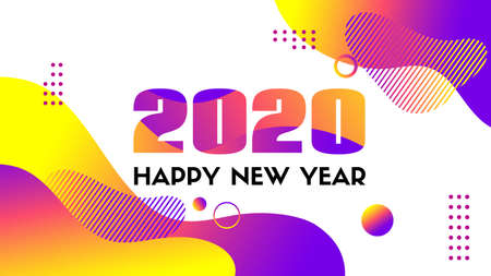 2020 Happy New Year. Vector greeting card with trendy liquid fluid shapes. Abstract colorful liquid gradient background