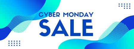 Cyber monday sale. Vector banner template. Trendy liquid fluid blue abstract background Ilustrace