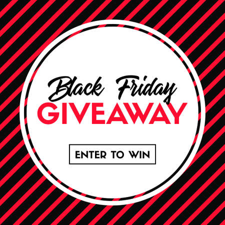 Black friday giveaway. Enter to win. Vector banner template for social media promotion. Striped pattern