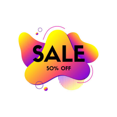 Sale liquid abstract banner. Vector dynamic fluid colorful shape. Composition for motion design