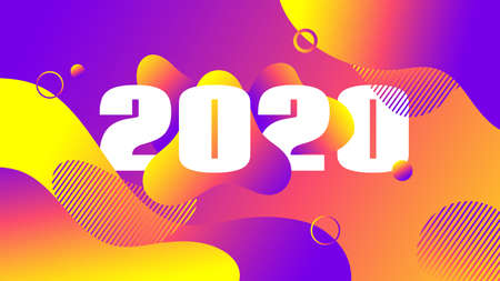 2020 greeting card. Trendy liquid fluid color gradient background. Vector abstract banner with 2020 numbers