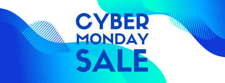 Cyber monday sale vector banner. Blue liquid abstract background for social media. Promo template Ilustracja