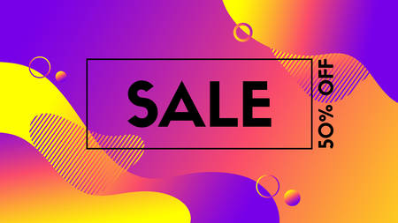 Abstract vector sale banner. Colorful liquid fluid background for discount promo
