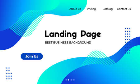 Landing page template. Vector abstract liquid fluid blue background. Corporate business website header Ilustracja