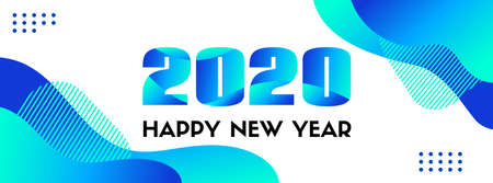 2020 Happy New Year. Abstract blue long vector banner. Trendy liquid fluid blue shapes on a white background Ilustracja