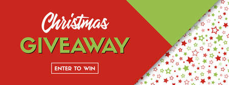 Christmas giveaway. Vector long banner for social media contest promotion