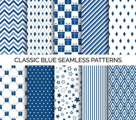 Conjunto de patrón transparente azul clásico. Fondos abstractos vectoriales. Chevron, lunares, rayas. Para el diseño de papel tapiz, papel de regalo, estampado de tela. Ilustración de vector