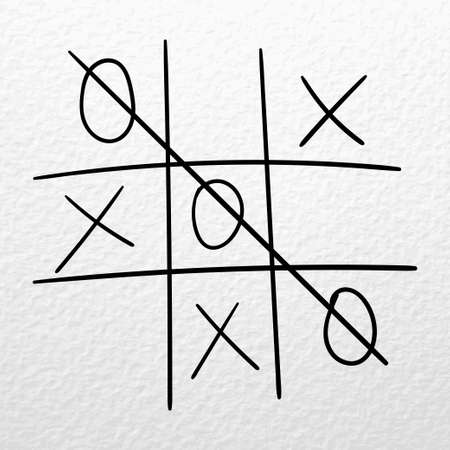 Tic tac toe vector hand drawn game on a white paper. Zero wins