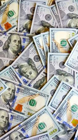 Money background. One hundred dollar new bank notes. American cash money. Flat lay Zdjęcie Seryjne