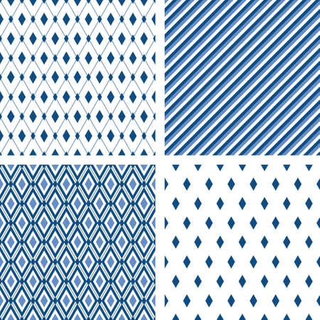 Blue trendy minimal seamless patterns. Vector male fashion backgrounds. Striped, diamond