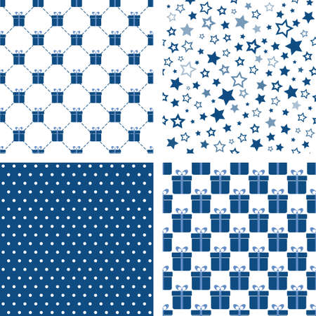 Set of blue seamless patterns. Vector backgrounds with gift boxes, stars, polka dot. For wallpaper, fabric print Ilustracja