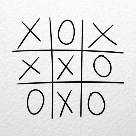 Tic tac toe game. Vector hand drawn competition on a paper background Ilustracja