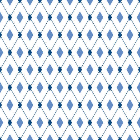 Blue diamonds vector seamless pattern. Male trendy elegant background. For wallpaper, fabric print, wrapping paper Illustration