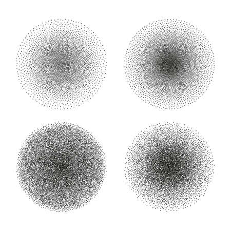 Vector set of stipple circle textures. Dotted gradient halftone ink spray effect Ilustrace