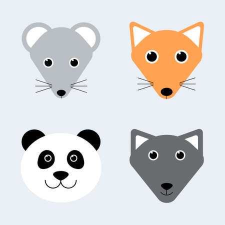 Cute animals. Cartoon animal faces. Mouse, fox, panda, wolf. Vector illustrations for kids t-shirt print design, poster, gift card