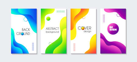 Vector liquid vertical backgrounds. Abstract colorful fluid cover templates for social media stories