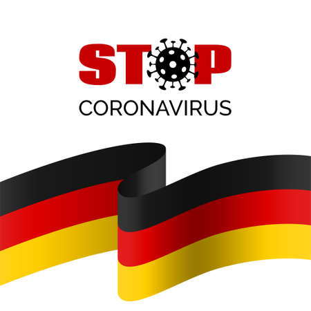 Stop coronavirus in Germany. Vector banner for covid-19 virus prevention. With german flag