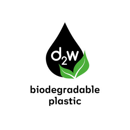 Biodegradable d2w plastic sign. Vector logo eco emblem for organic package